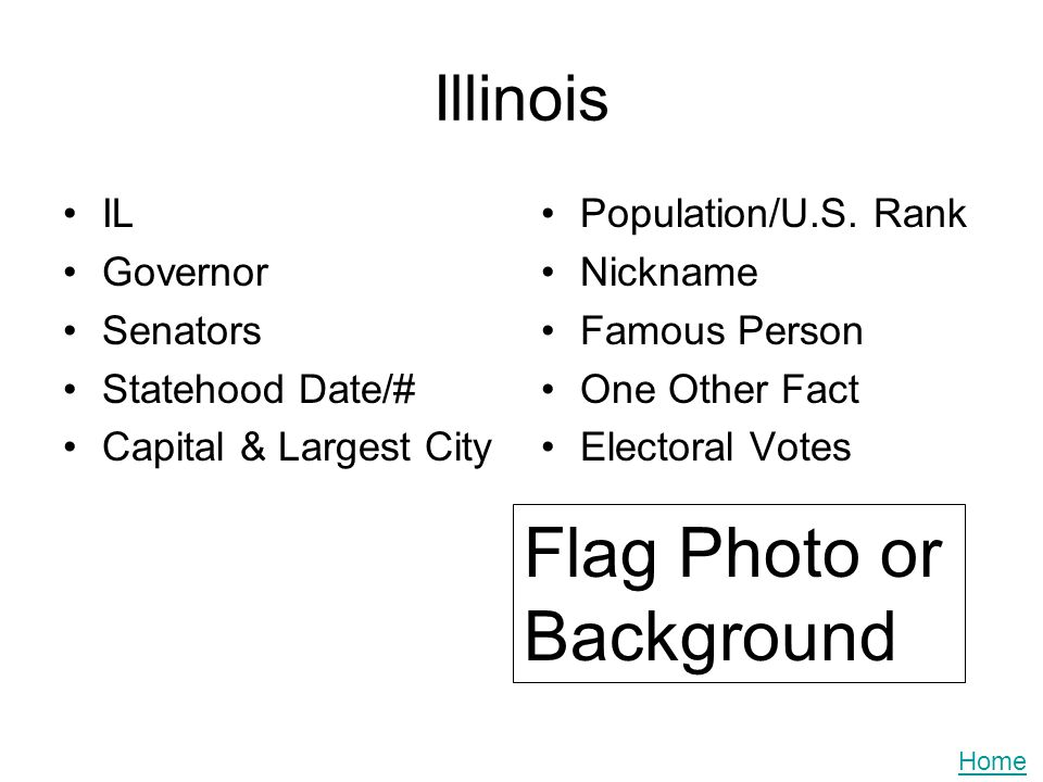 Illinois IL Governor Senators Statehood Date/# Capital & Largest City Population/U.S. Rank Nickname Famous Person One Other Fact Electoral Votes Flag
