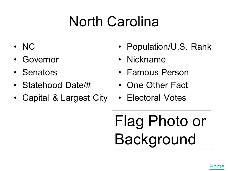 North Carolina NC Governor Senators Statehood Date/# Capital & Largest City Population/U.S. Rank Nickname Famous Person One Other Fact Electoral Votes