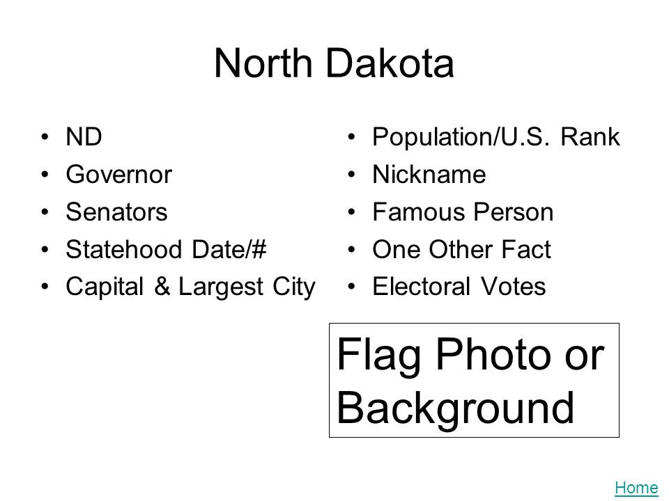 North Dakota ND Governor Senators Statehood Date/# Capital & Largest City Population/U.S. Rank Nickname Famous Person One Other Fact Electoral Votes F