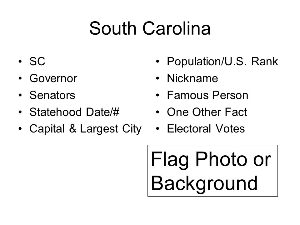 South Carolina SC Governor Senators Statehood Date/# Capital & Largest City Population/U.S. Rank Nickname Famous Person One Other Fact Electoral Votes