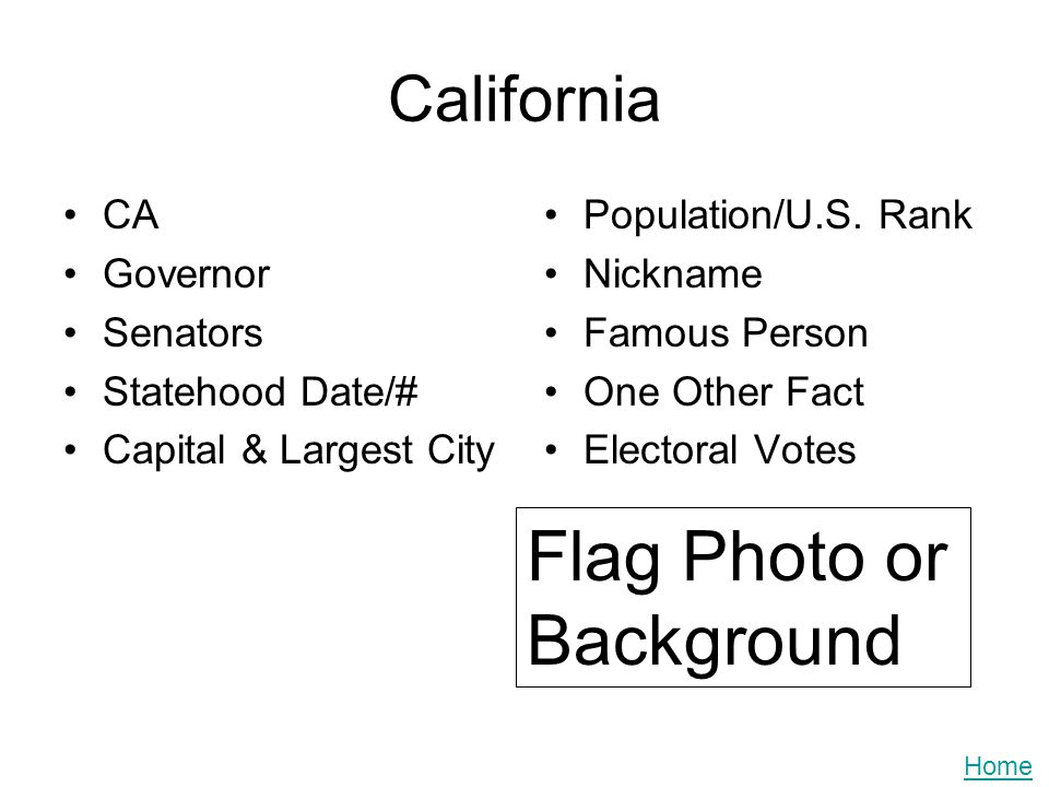 California CA Governor Senators Statehood Date/# Capital & Largest City Population/U.S. Rank Nickname Famous Person One Other Fact Electoral Votes Fla