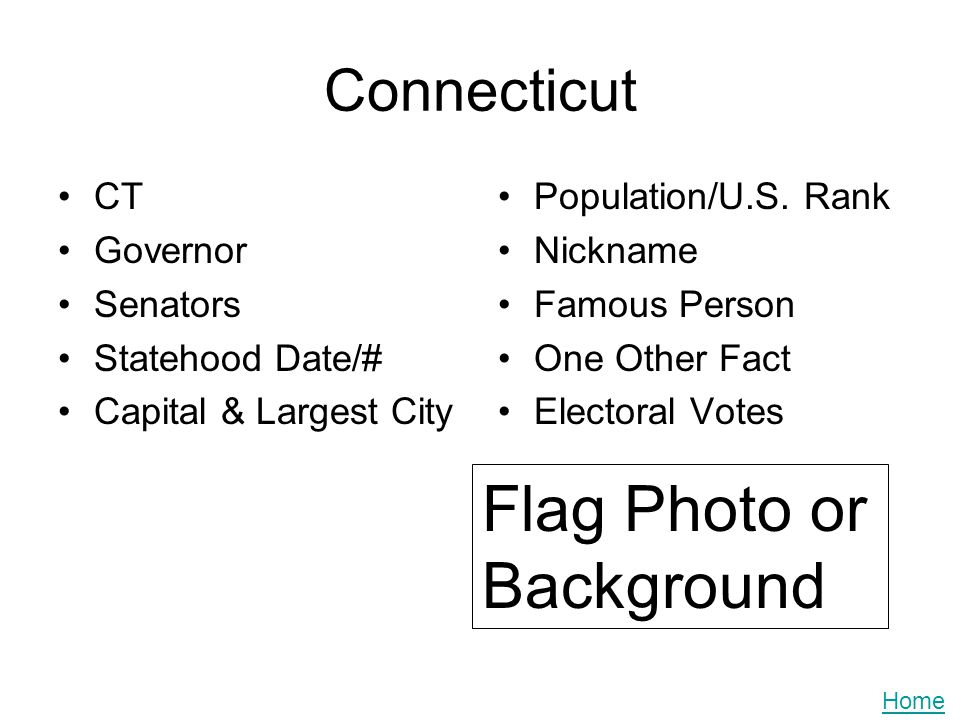 Connecticut CT Governor Senators Statehood Date/# Capital & Largest City Population/U.S. Rank Nickname Famous Person One Other Fact Electoral Votes Fl