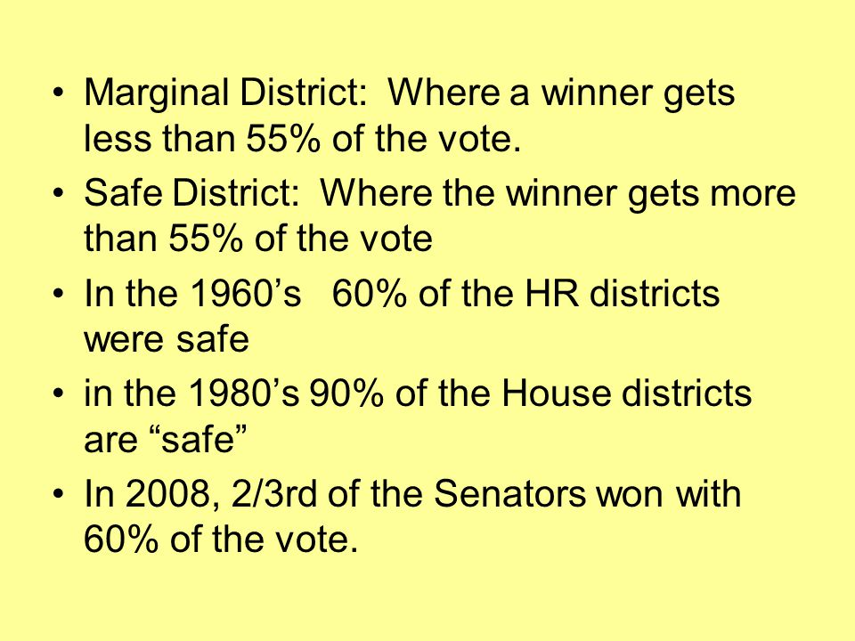 Marginal District: Where a winner gets less than 55% of the vote.