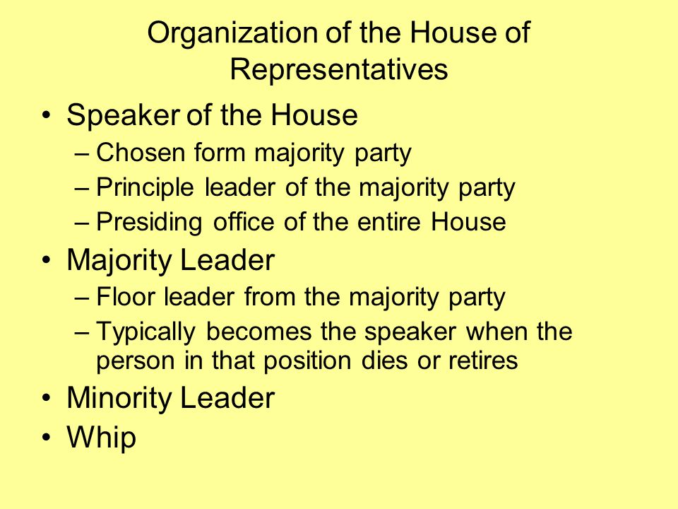 Organization of the House of Representatives Speaker of the House –Chosen form majority party –Principle leader of the majority party –Presiding office of the entire House Majority Leader –Floor leader from the majority party –Typically becomes the speaker when the person in that position dies or retires Minority Leader Whip