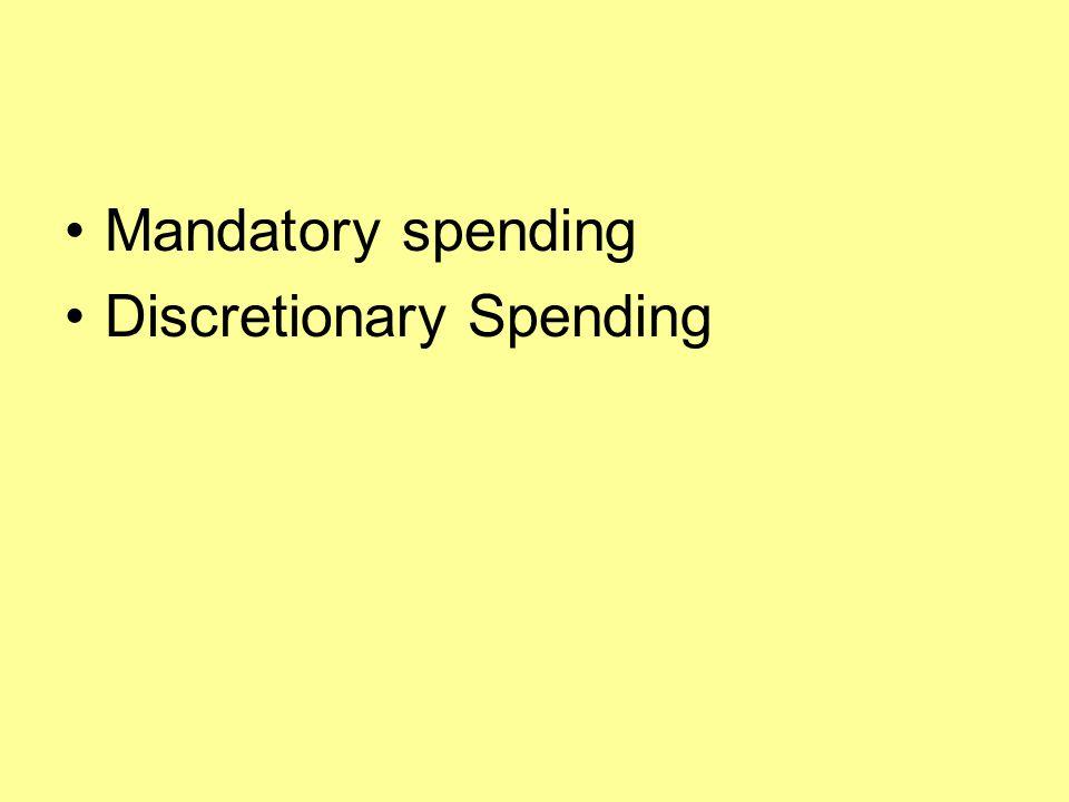 Mandatory spending Discretionary Spending