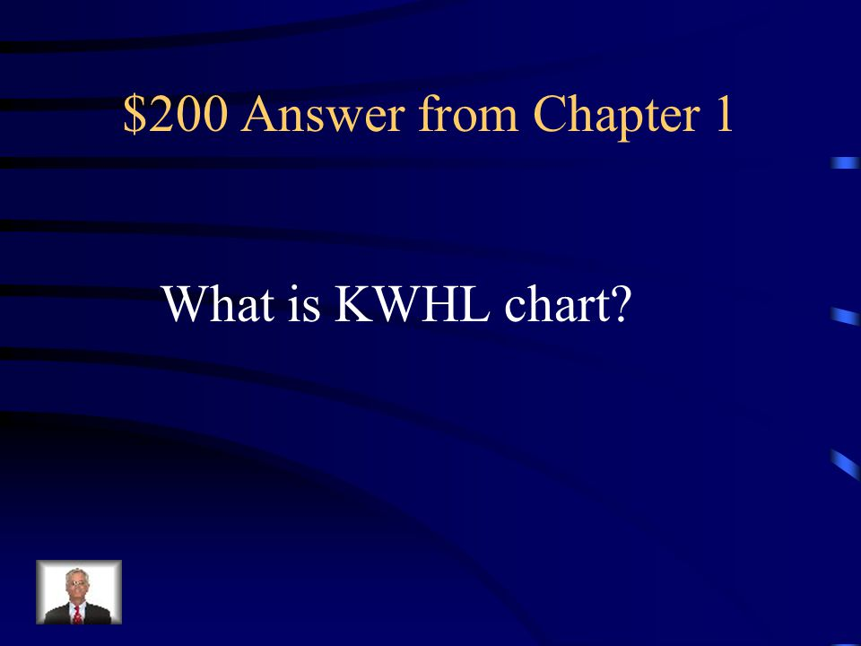 $200 Question from Chapter 1 What chart covers know, want, how, and learned