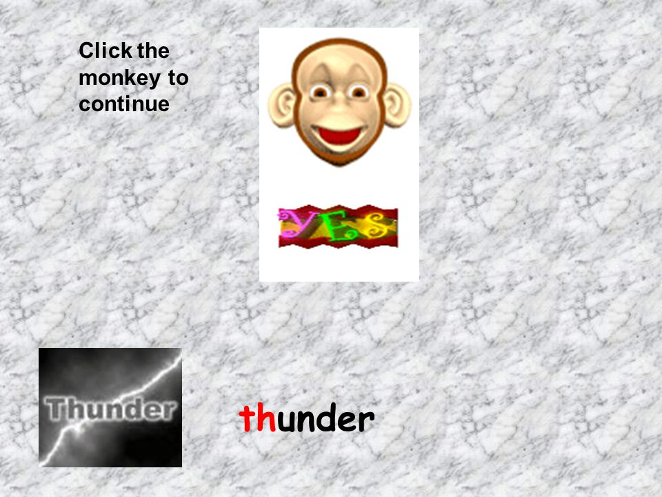 Click the monkey to continue thunder