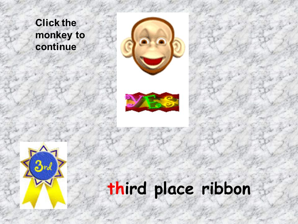 Click the monkey to continue third place ribbon