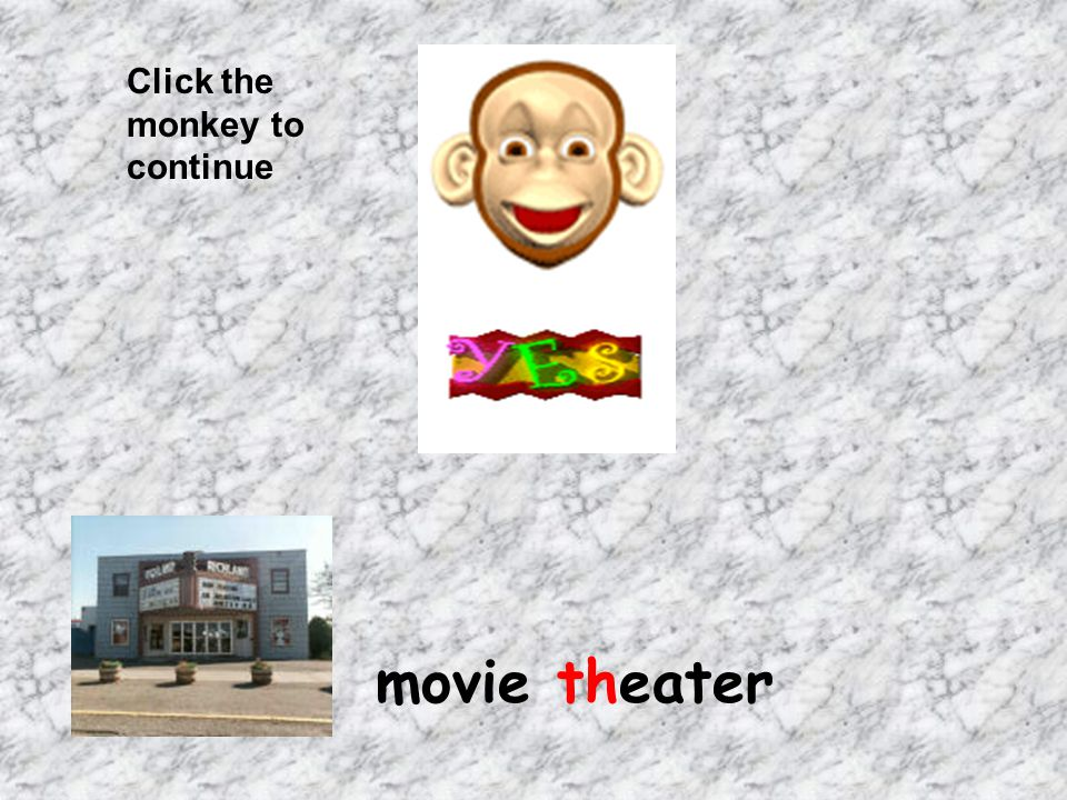 Click the monkey to continue movie theater