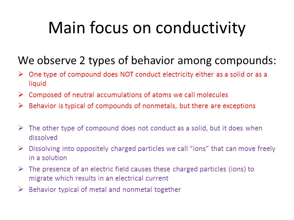 Main focus on conductivity We observe 2 types of behavior among compounds:  One type of compound does NOT conduct electricity either as a solid or as a liquid  Composed of neutral accumulations of atoms we call molecules  Behavior is typical of compounds of nonmetals, but there are exceptions  The other type of compound does not conduct as a solid, but it does when dissolved  Dissolving into oppositely charged particles we call ions that can move freely in a solution  The presence of an electric field causes these charged particles (ions) to migrate which results in an electrical current  Behavior typical of metal and nonmetal together