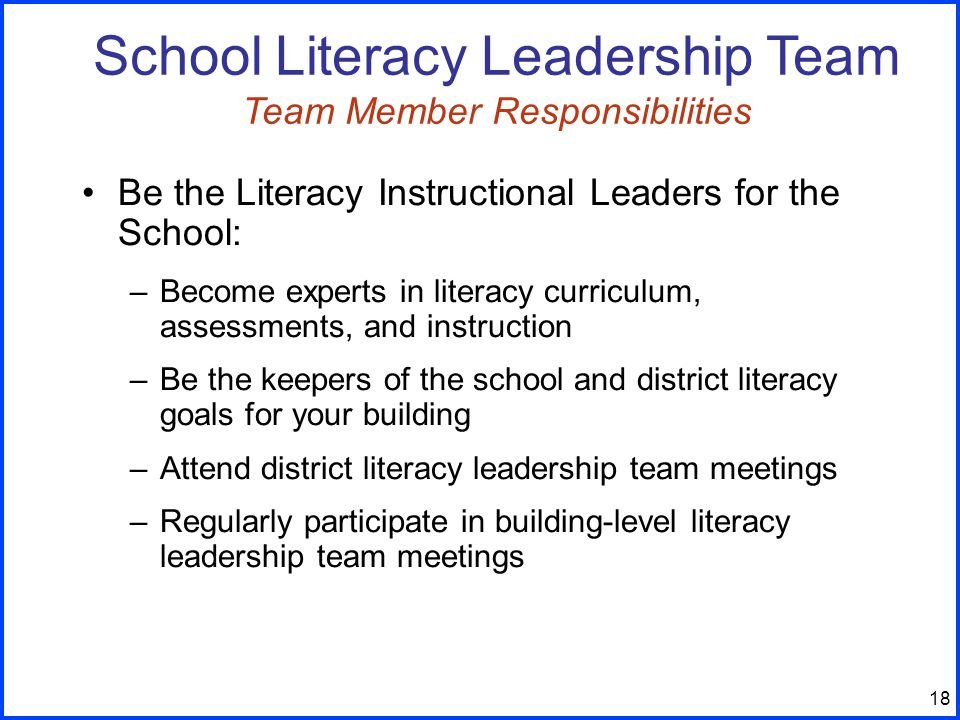 18 Be the Literacy Instructional Leaders for the School: –Become experts in literacy curriculum, assessments, and instruction –Be the keepers of the school and district literacy goals for your building –Attend district literacy leadership team meetings –Regularly participate in building-level literacy leadership team meetings School Literacy Leadership Team Team Member Responsibilities