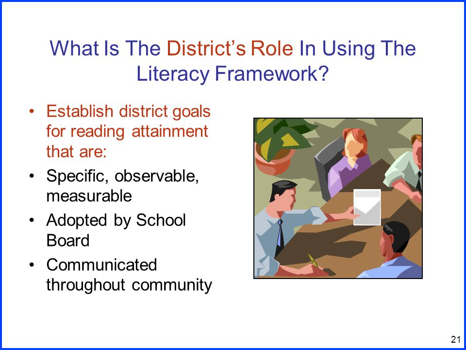 21 What Is The District's Role In Using The Literacy Framework.