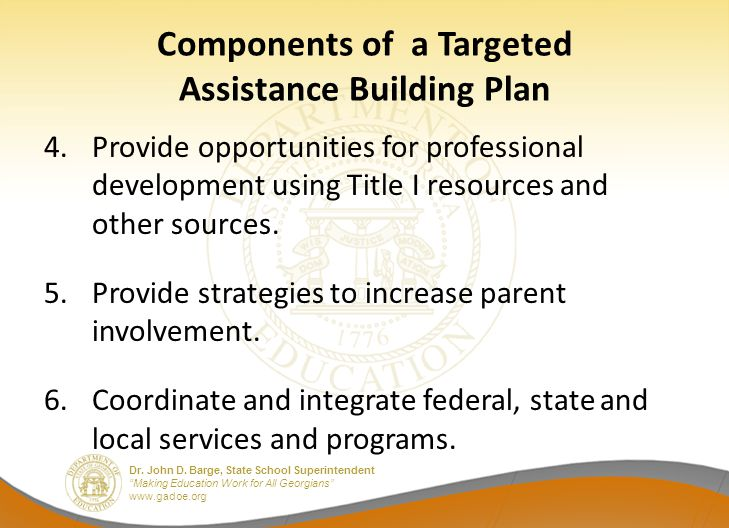 """Dr. John D. Barge, State School Superintendent """"Making Education Work for All Georgians"""" www.gadoe.org Components of a Targeted Assistance Building Pl"""