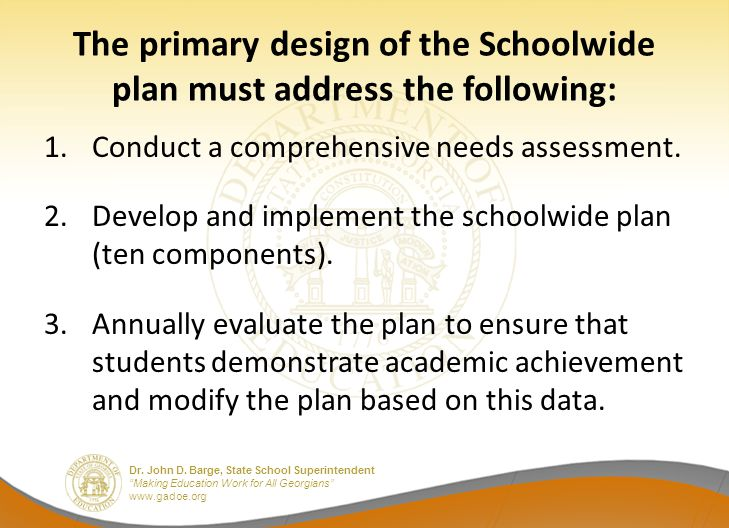 """Dr. John D. Barge, State School Superintendent """"Making Education Work for All Georgians"""" www.gadoe.org The primary design of the Schoolwide plan must"""