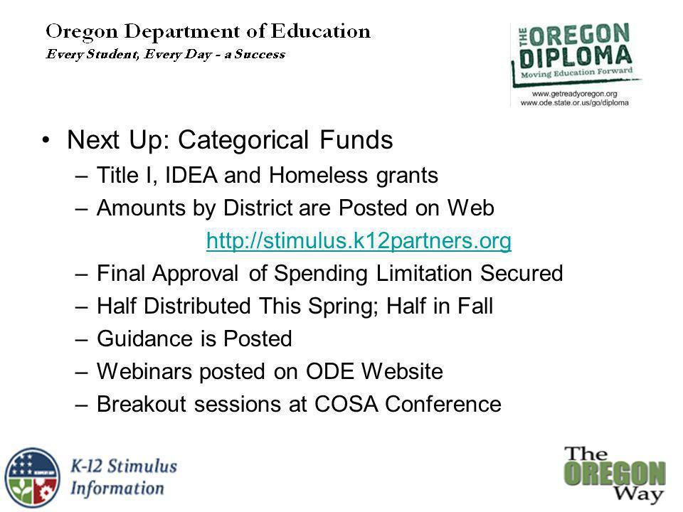 Next Up: Categorical Funds –Title I, IDEA and Homeless grants –Amounts by District are Posted on Web http://stimulus.k12partners.org –Final Approval of Spending Limitation Secured –Half Distributed This Spring; Half in Fall –Guidance is Posted –Webinars posted on ODE Website –Breakout sessions at COSA Conference