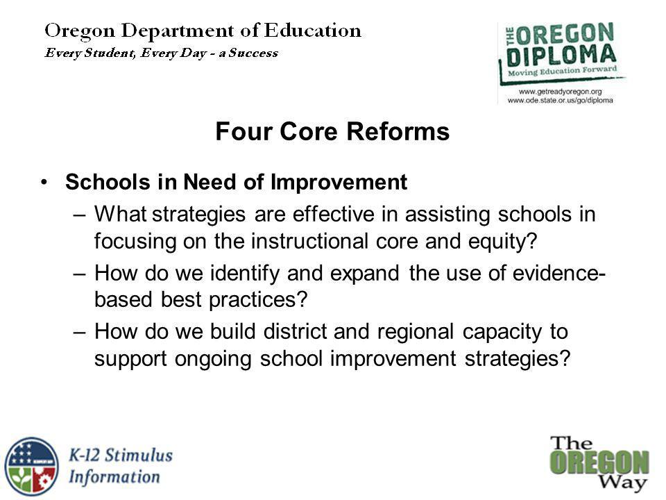 Schools in Need of Improvement –What strategies are effective in assisting schools in focusing on the instructional core and equity.