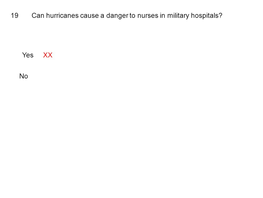 19Can hurricanes cause a danger to nurses in military hospitals YesXX No