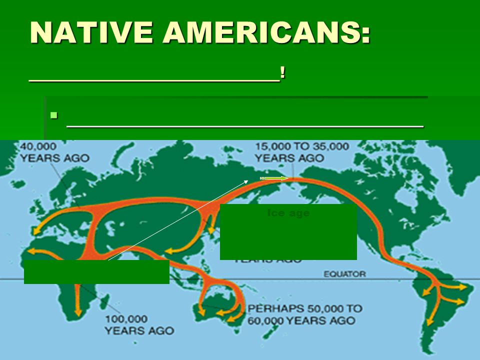 NATIVE AMERICANS: _________________ !  ______________________________ Ice age