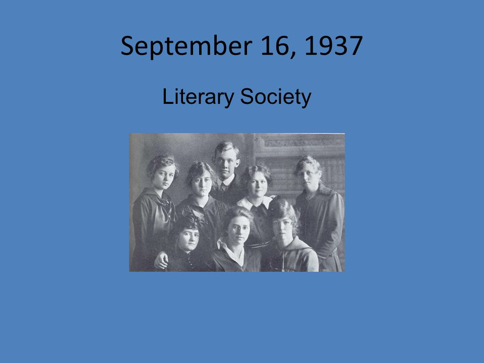 September 16, 1937 Literary Society