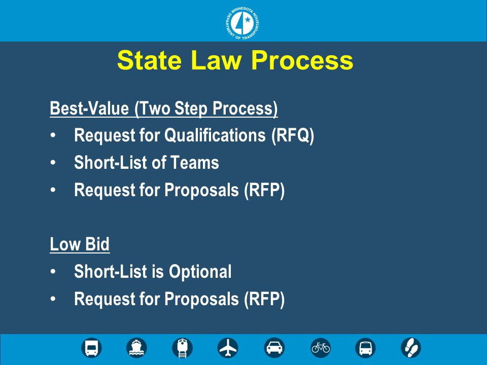 State Law Process Best-Value (Two Step Process) Request for Qualifications (RFQ) Short-List of Teams Request for Proposals (RFP) Low Bid Short-List is