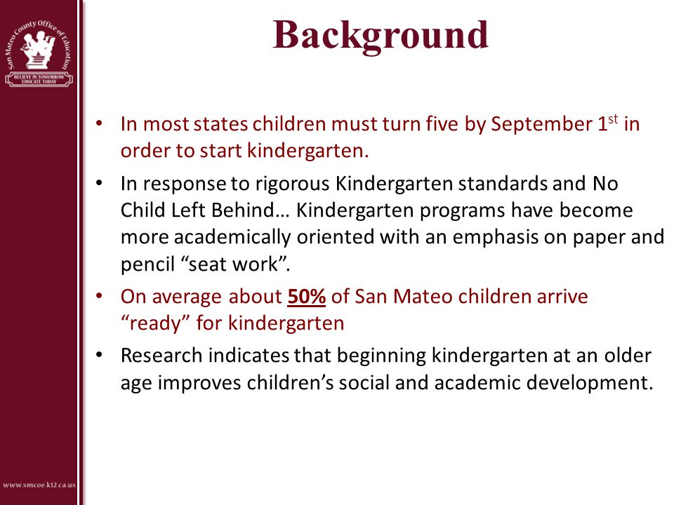 Preschool -> TK -> K Preschool Social-Emotional Development Language and Literacy English-Language Development for English learners Mathematics TK Possibilities Kindergarten