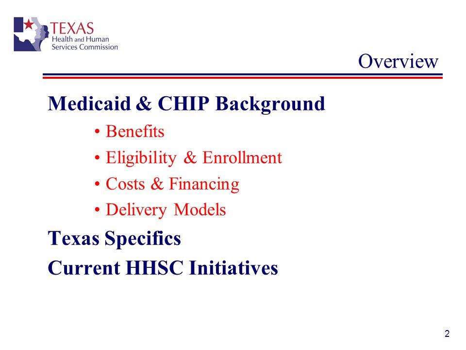 33 Texas CHIP: Eligibility General eligibility Uninsured children under age 19.