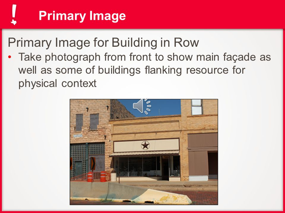 Primary Image for Stand-alone Building Take photograph from angle to show main façade and side elevation Primary Image