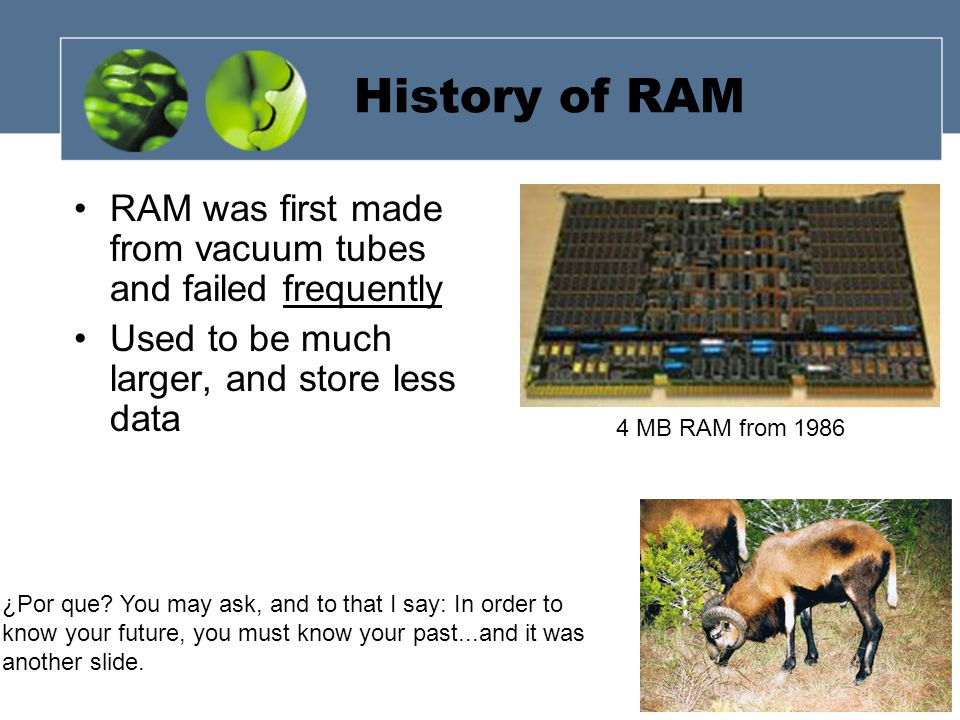 History of RAM RAM was first made from vacuum tubes and failed frequently Used to be much larger, and store less data 4 MB RAM from 1986 ¿Por que.