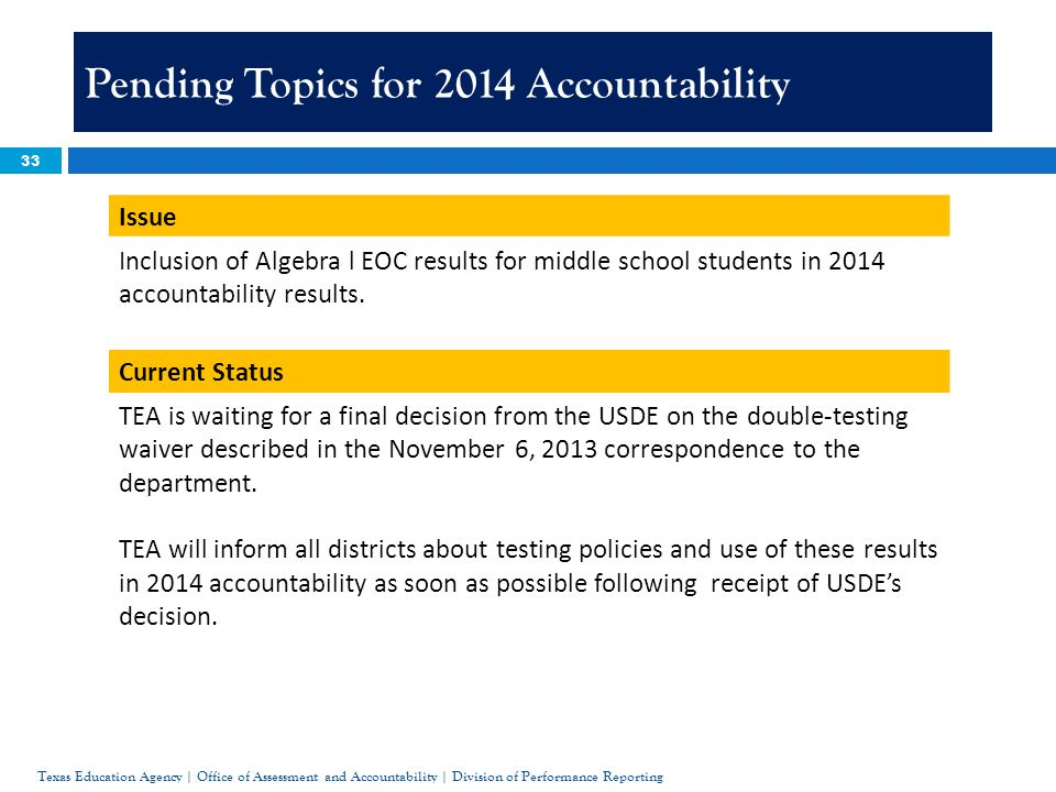 33 Pending Topics for 2014 Accountability Issue Inclusion of Algebra l EOC results for middle school students in 2014 accountability results.