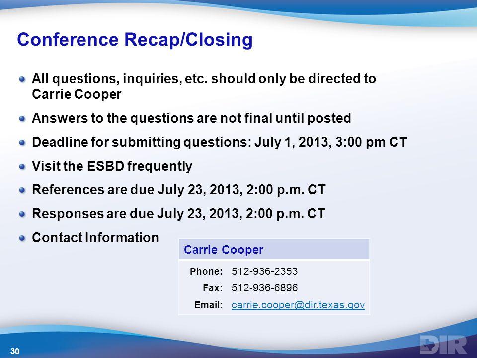 Conference Recap/Closing All questions, inquiries, etc.