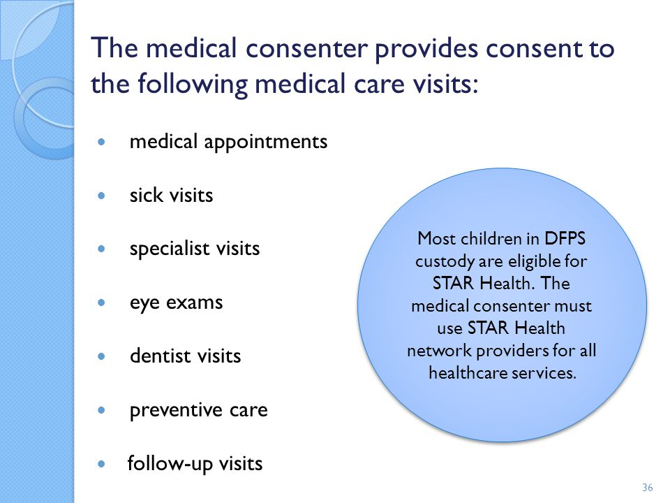 The medical consenter provides consent to the following medical care visits: medical appointments sick visits specialist visits eye exams dentist visi