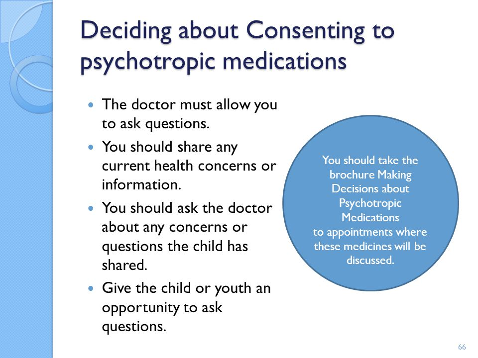 Deciding about Consenting to psychotropic medications The doctor must allow you to ask questions. You should share any current health concerns or info