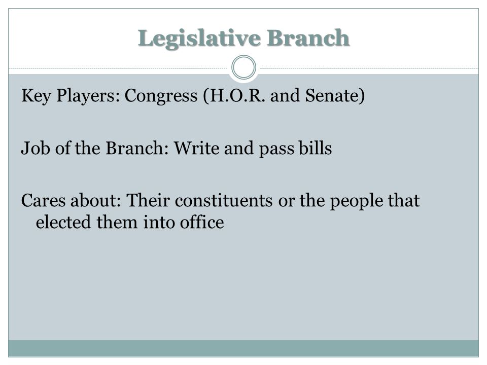 Legislative Branch Key Players: Congress (H.O.R. and Senate) Job of the Branch: Write and pass bills Cares about: Their constituents or the people tha