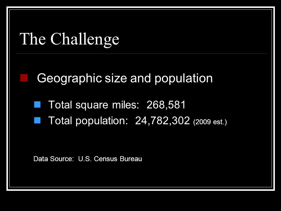 The Challenge Geographic size and population Total square miles: 268,581 Total population: 24,782,302 (2009 est.) Data Source: U.S.