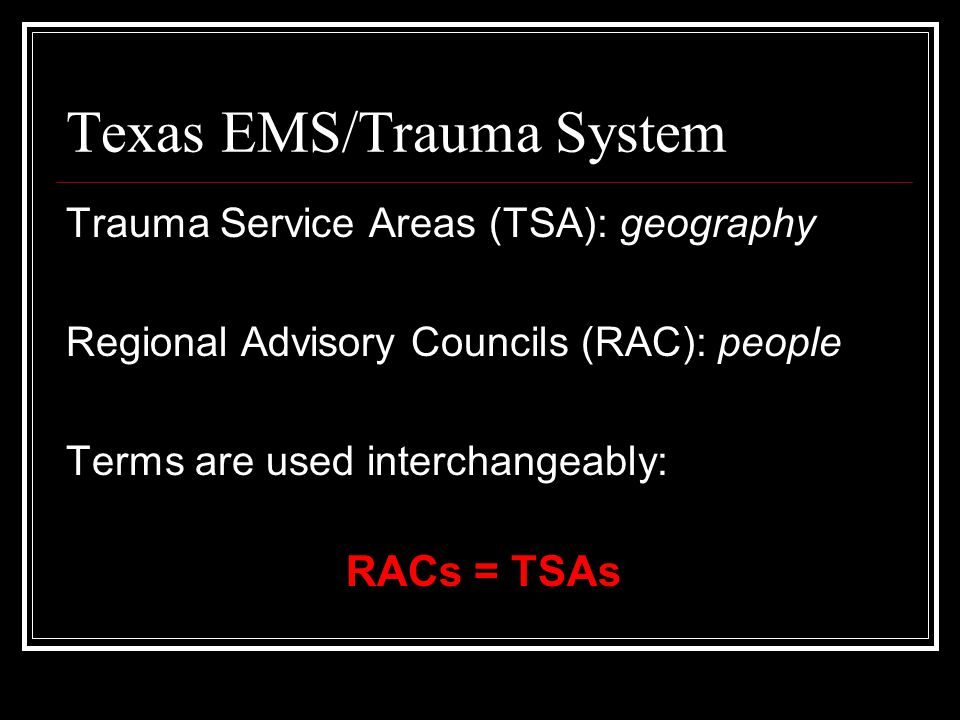 Texas EMS/Trauma System History In 1983 the EMS Act of 1973 was amended requiring: 1.two certified EMS personnel aboard an ambulance, 2.personnel certification and vehicle permits, and 3.the establishment of the Bureau of Emergency Management.
