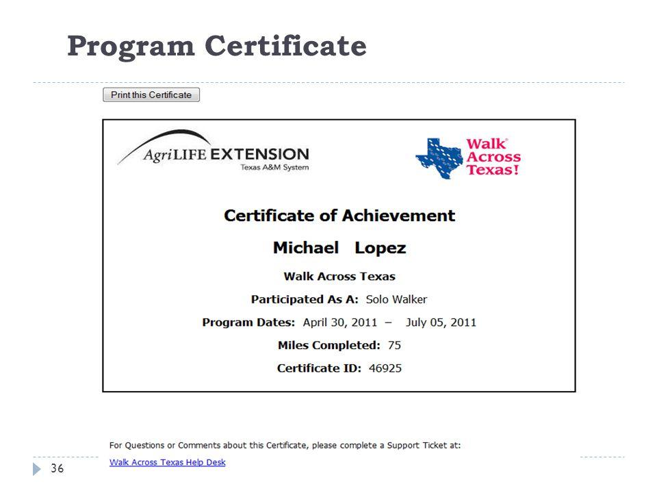 Program Certificate 36