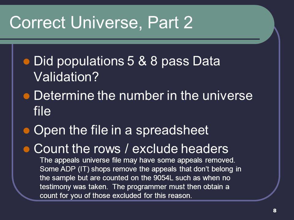 9 Correct Universe, cont.
