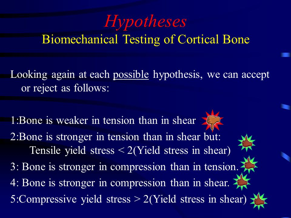 Hypotheses Biomechanical Testing of Cortical Bone Looking again at each possible hypothesis, we can accept or reject as follows: 1:Bone is weaker in tension than in shear 2:Bone is stronger in tension than in shear but: Tensile yield stress < 2(Yield stress in shear) 3: Bone is stronger in compression than in tension.