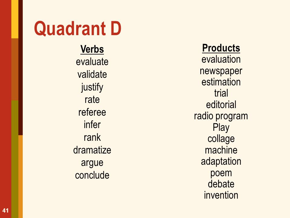 Quadrant D Verbs evaluate validate justify rate referee infer rank dramatize argue conclude Products evaluation newspaper estimation trial editorial r