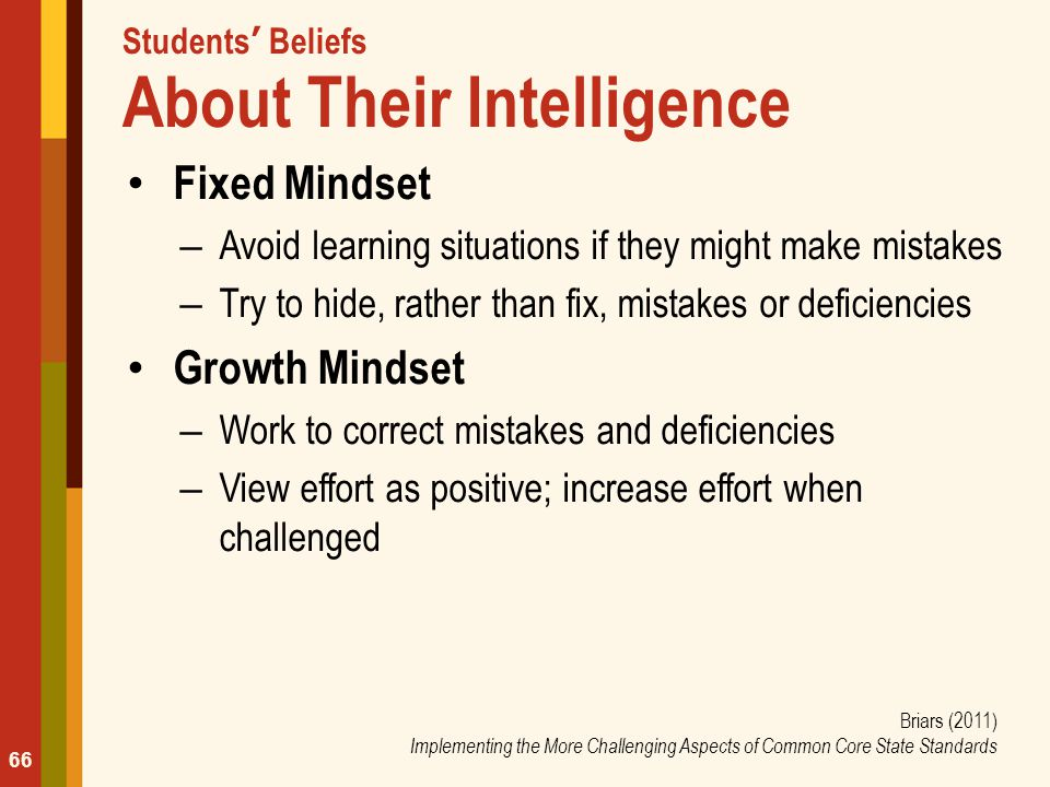 Students' Beliefs About Their Intelligence Fixed Mindset – Avoid learning situations if they might make mistakes – Try to hide, rather than fix, mista