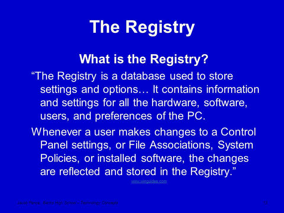Jacob Pence, Banks High School – Technology Concepts13 The Registry What is the Registry.