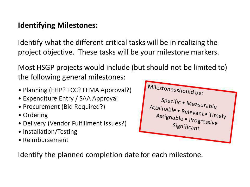 Identifying Milestones: Identify what the different critical tasks will be in realizing the project objective.