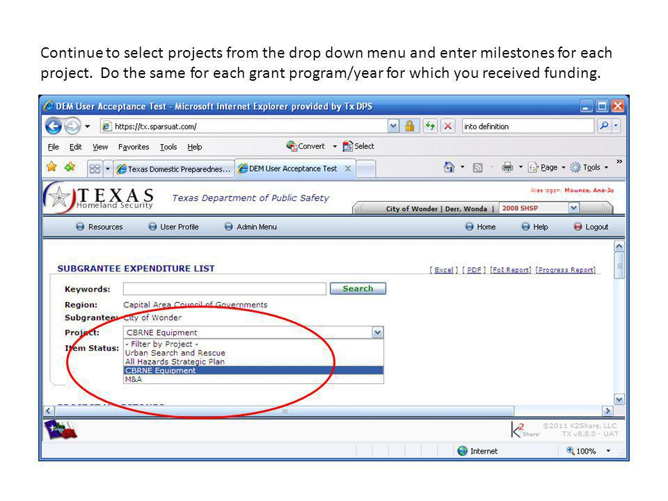 Continue to select projects from the drop down menu and enter milestones for each project.