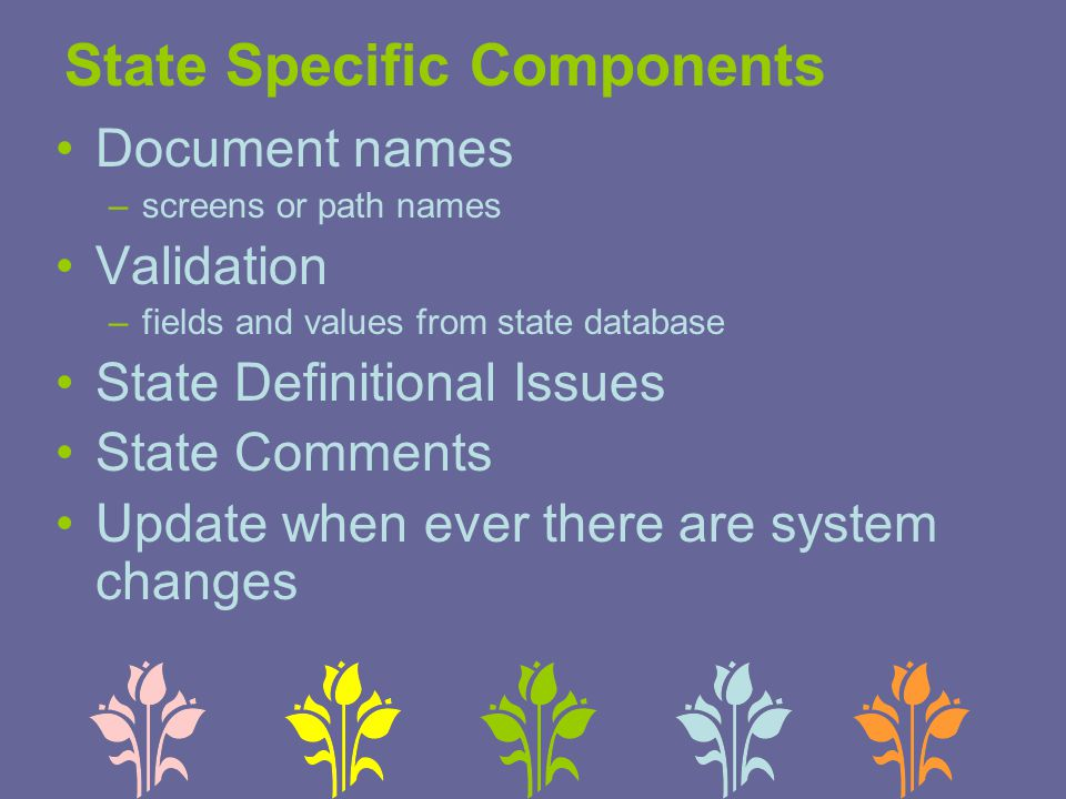 State Specific Components Document names –screens or path names Validation –fields and values from state database State Definitional Issues State Comm