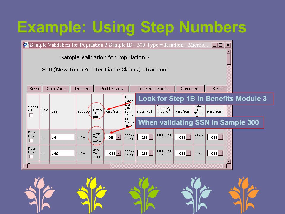 Example: Using Step Numbers When validating SSN in Sample 300 Look for Step 1B in Benefits Module 3