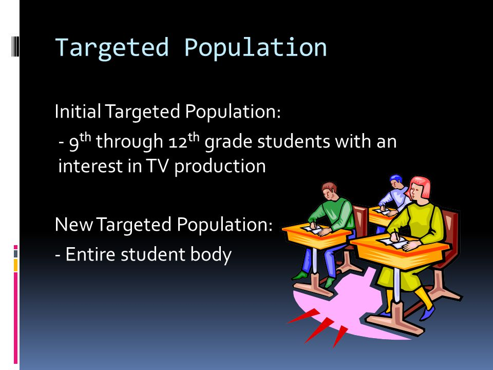 Targeted Population Initial Targeted Population: - 9 th through 12 th grade students with an interest in TV production New Targeted Population: - Entire student body