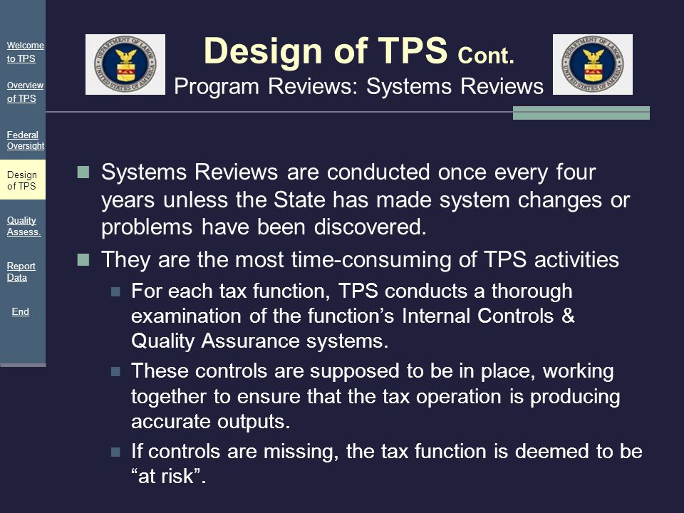 Design of TPS Cont. Program Reviews: Systems Reviews Systems Reviews are conducted once every four years unless the State has made system changes or p