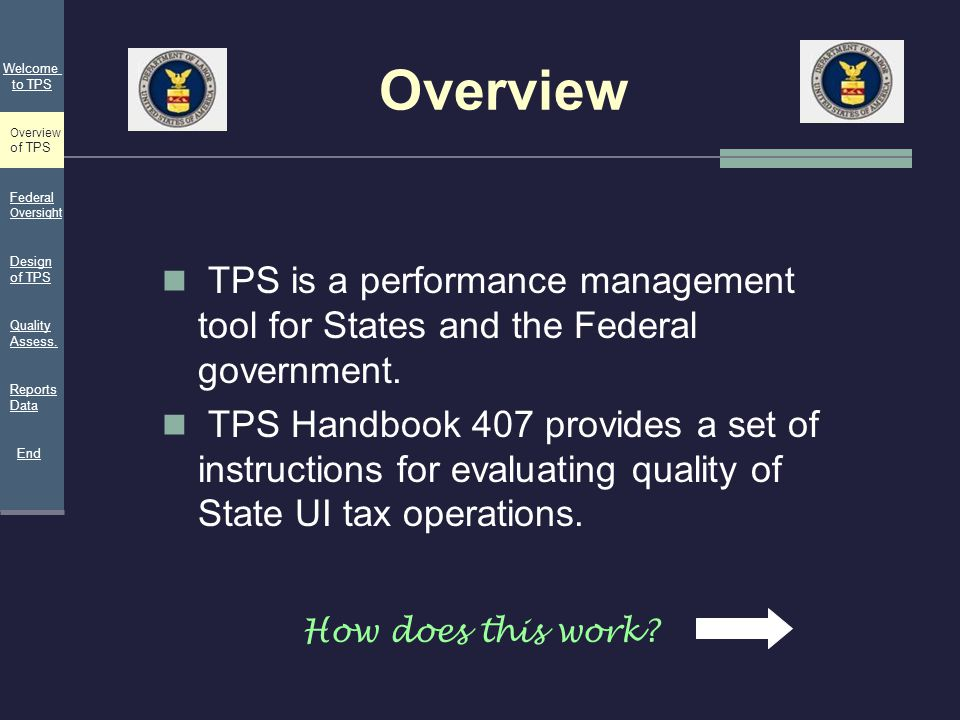 Overview TPS is a performance management tool for States and the Federal government. TPS Handbook 407 provides a set of instructions for evaluating qu