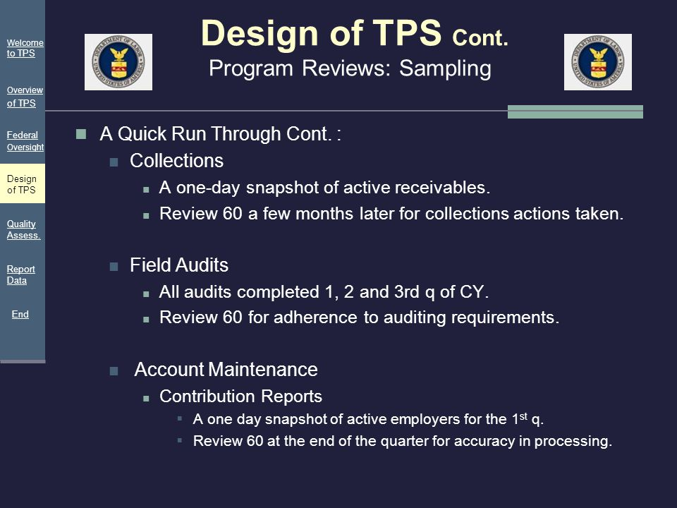 Design of TPS Cont. Program Reviews: Sampling A Quick Run Through Cont. : Collections A one-day snapshot of active receivables. Review 60 a few months