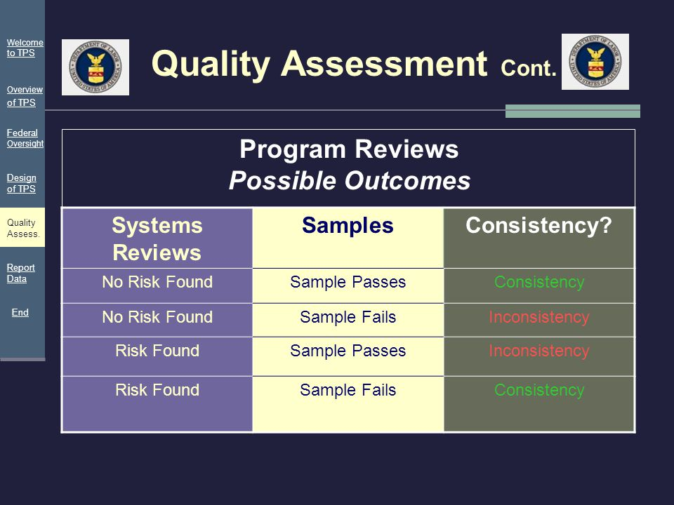 Quality Assessment Cont. Systems Reviews SamplesConsistency? No Risk FoundSample PassesConsistency No Risk FoundSample FailsInconsistency Risk FoundSa